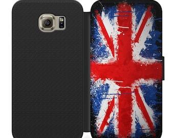 Grungy British union flag flip wallet phone case for iphone 4 5 6 7 8 8 plus Samsung s2 s3 s4 s5 s6 s7 S8 S8 plus and more