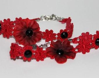 Red Flower Bracelet (Various Gems)