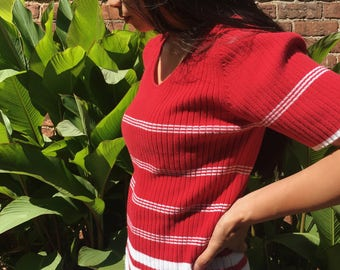 Vintage 90s Red + White Stripe Knit Cotton Top Shirt
