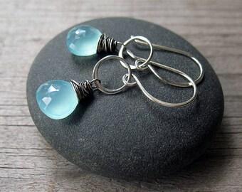 Aqua Chalcedony Ring Drop Earrings