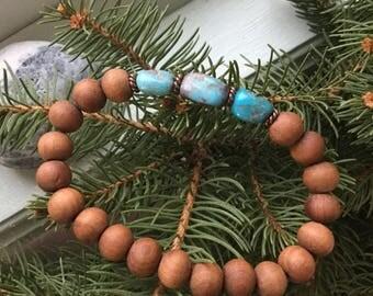Kingman turquoise & sandalwood men's bracelet