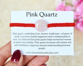 Pink Quartz bracelet Love bracelet Happiness gemstone Rose Quartz Jewelry Red String bracelet Stone amulet Protection gemstone Gift for her