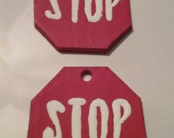 leather stop sign earrings