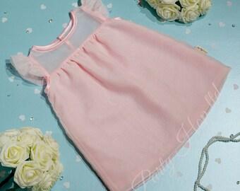 Baby Pink Japanese Chiffon Dress with Sheer Yoke detailing (Pink Wedding Dress, Flower Girl Dress, Party Dress, Birthday dress,Chiffon )