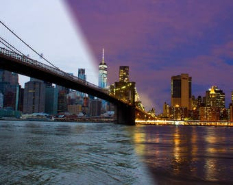 Brooklyn Bridge day and night