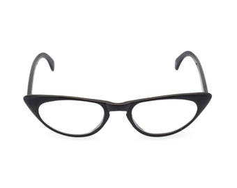 1950s 60s style Black CAT EYE 'Peggy'' Rxable frame or reading glasses clear to +3.00 NEW made to original vintage design best seller
