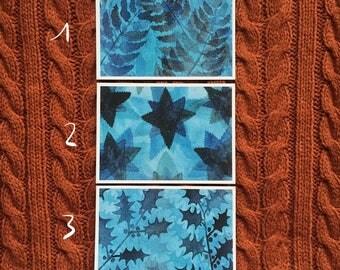 Blue series nature mini prints