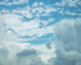 Cloud photography. 12x18 photograph. Fluffy cloudscape. Nature photography. Clouds and sky.