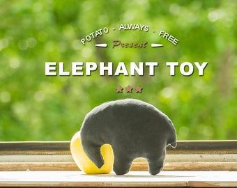 Elephant Toy - Dark Blue (Black), 10x14cm