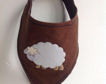 Bandana Bib -- Lamby-- brown faux suede