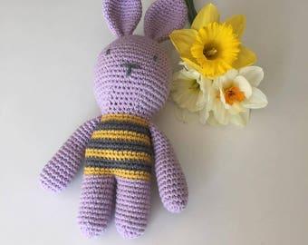 Purple crocheted rabbit