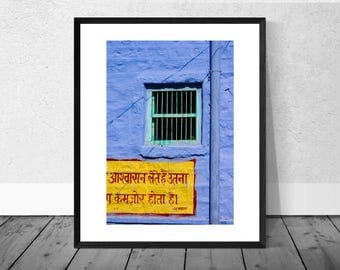 Indian Art Print, India Photography, Green Window, Blue Wall, Colour Photography, Home Décor, Giclee Print, Architecture Photography
