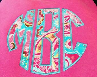 Circle Applique Monogram on Comfort Color Sweatshirt