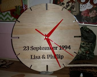 Laser Cut Clock -Custom wording or images plywood, personalized