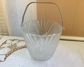 Vintage Art Deco ice bucket with frosted glass