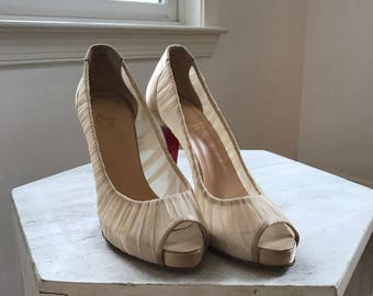Christian Louboutin - Silk Peep Toe Pump in Champagne/Beige Silk