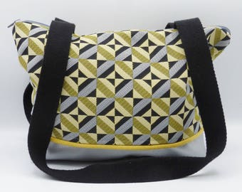 Yellow and silvery graphic handbag in jacquard and faux-leather