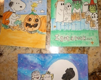 Halloween Peanuts inspired 4X6 watercolor paintings set of 3