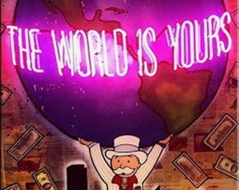 """Alec Monopoly """"The world is yours"""" oil painting on canvas large wall picture"""