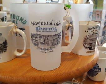 Newfound Lake Bristol Square 1819 Coffee Mug, Frosted Mug, Mason Jar