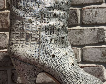 Vintage Croc Skin with Jewels, Handmade In ITALY