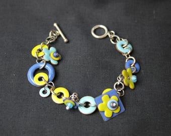 Colorful Whimsical Enameled Charm Bracelet