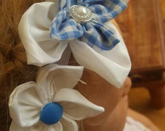 Blue and white handstiched kanzashi flower headband