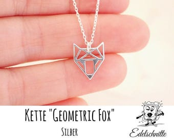 Chain ~ Geometric Fox ~ engraving on request ~ 925 Silver