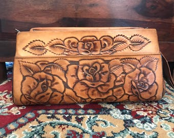 Vintage Bohemian Hand Tooled Leather Rose Purse