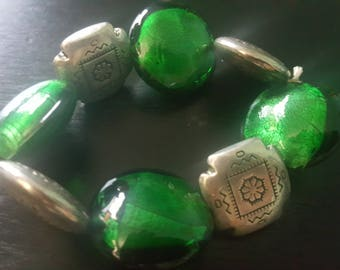 Stunning Green Glass Bead and Sterling stretch Bracelet
