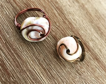 Puke Shell Wire Wrap Ring