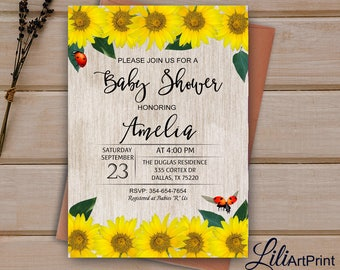 Sunflower Baby Shower Invitation, Printable Baby Shower, Sunflower Baby  Shower Invite, Rustic Baby