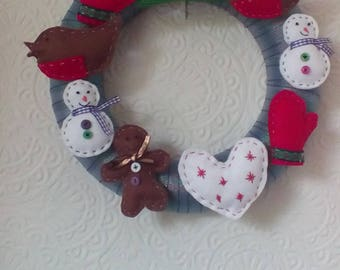 Ribbon wrapped Christmas wreath