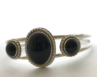 3 stone Black Onyx Cuff