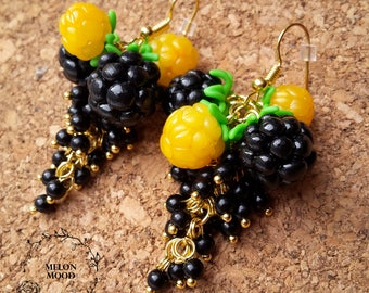 Berry earrings, Polymer clay earrings, Polymer clay jewelry, Handmade jewelry, Gift idea