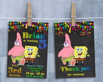 SpongeBob Invitation, Sponge Bob Invitations, SpongeBob SquarePants Birthday Party Invitation with Free Thank You Card, Personalized JPEG