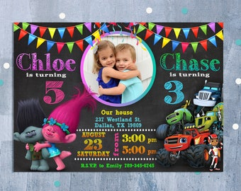 Sibling Birthday Invitation, Double Birthday Invitation, Dual Combined Twins Birthday Invitation, Custom Invitation, Personalized JPEG