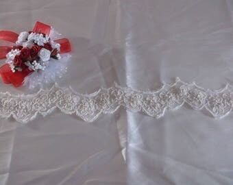 Ivory Beaded Corded Scalloped Lace