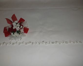 Off White Silver Beaded Small Venise Flower Lace