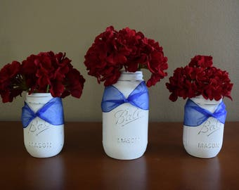 Mason Jar Arrangement, red, white, blue, 4th of July