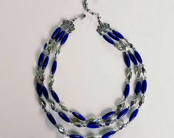 Silver and Blue Multi-Strand Necklace|Fits with any Neckline|Perfect with T-Shirt or Blouse|Lightweight Plastic Beads Won't Weigh you Down!