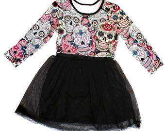 Sugar skull Dress Tutu Halloween Gothic kids