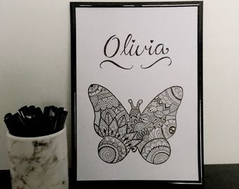 Personalised Name Butterfly Zentangle Print