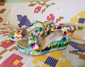 Tie-Dye Heels - Summer Sandals - Size 10