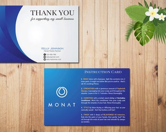 PERSONALIZED Monat Care Instruction, Monat Care Card, Monat Thank you card, Fast Free Personalization, Custom Monat Hair Care Card MN03