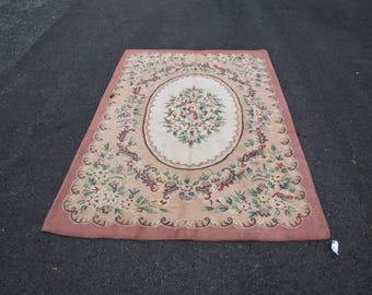 Vintage American Hooked Rug   rr1585  FREE SHIPPING