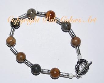 Indian Agate Stone Bead Bracelet, 8.5 Inch Bracelet, Indian Agate Bracelet, Medium Large Bracelet, 10mm Gemstone Bead Bracelet