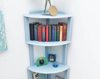 Corner shelves, shelf unit handmade from reclaimed wood, freestanding shelving