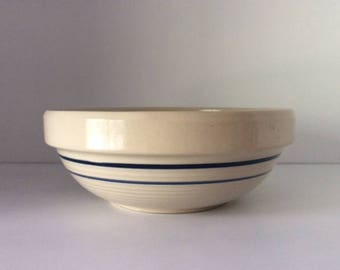 Large Mixing Bowl with Blue Stripes | Marshall Pottery | USA | Vintage