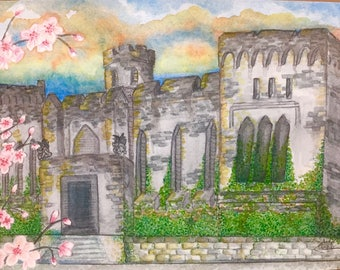 Eastern State Penitentiary, original watercolor paper 11x14, Philadelphia historical places, Father's day,